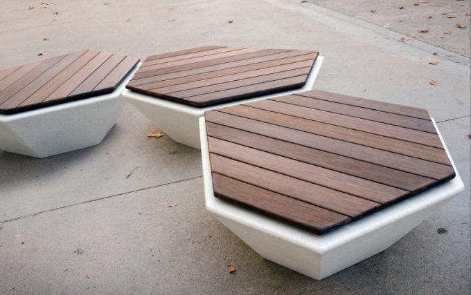 ławka betonowa Cristal drewno