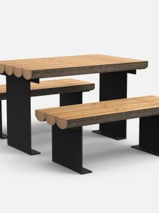 zestaw stoli i ławki do parku lub lasu