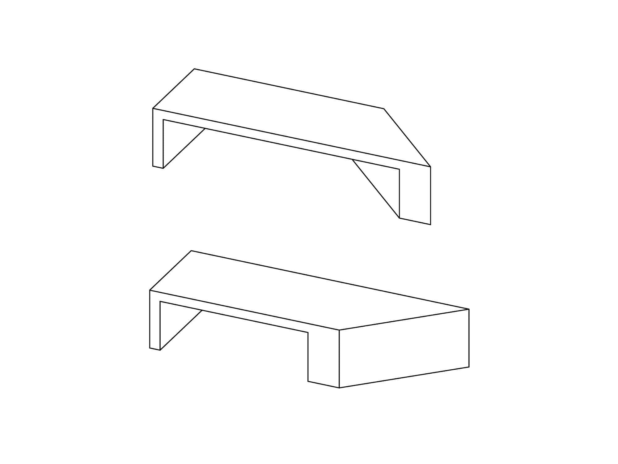 ławka uliczna z siedziskiem drewnianym Zigza Wood 3
