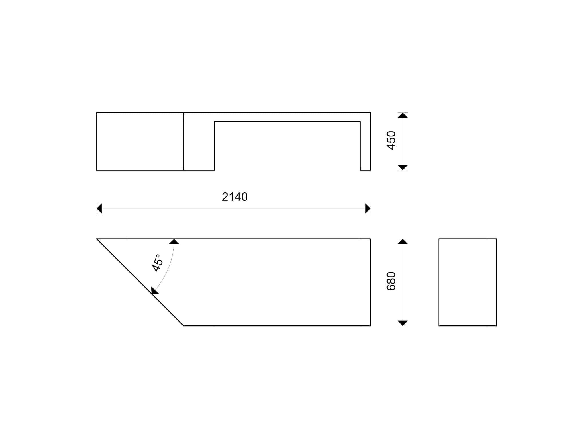 ławka betonowa Zigza wymiary